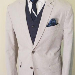 Men's Express Producer Pinstripe Cotton Suit  42R